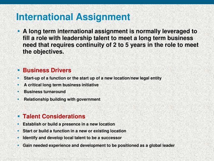 International Assignment