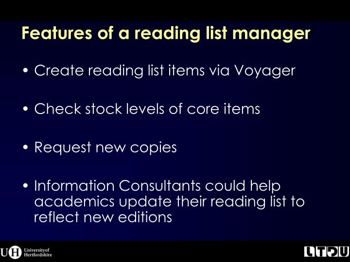 Features of a reading list manager