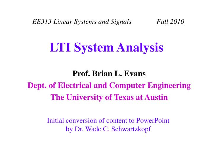 lti system analysis n.