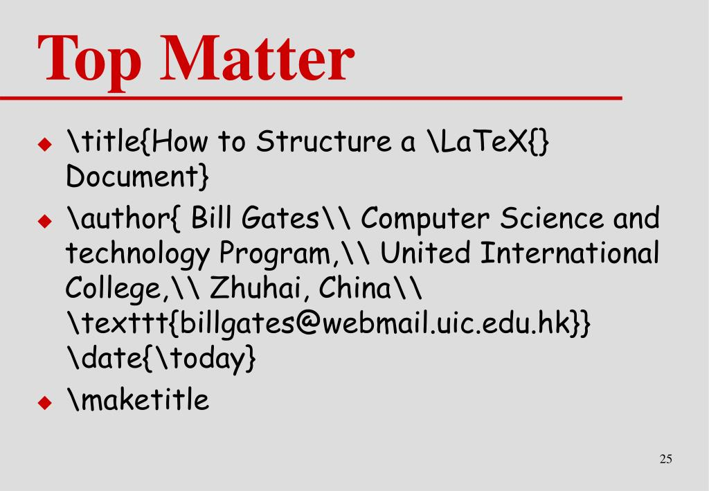 PPT - Lecture 4 A Brief Introduction to LaTeX PowerPoint