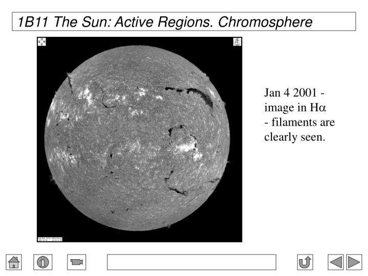 1B11 The Sun: Active Regions. Chromosphere