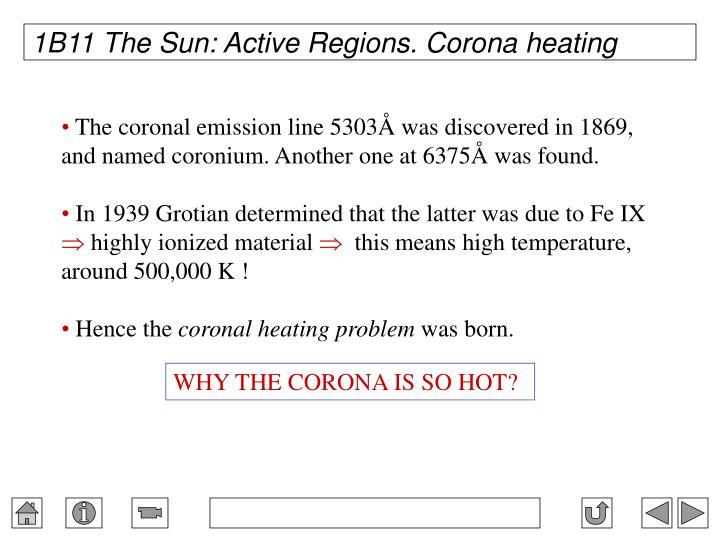 1B11 The Sun: Active Regions. Corona heating
