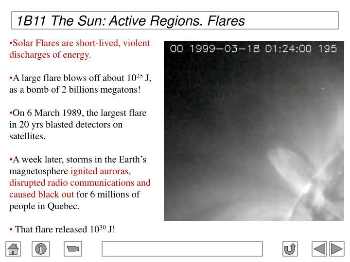 1B11 The Sun: Active Regions. Flares