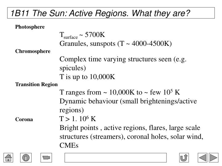 1B11 The Sun: Active Regions. What they are?