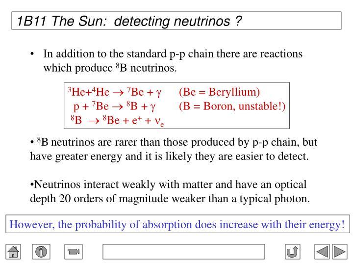 1B11 The Sun:  detecting neutrinos ?
