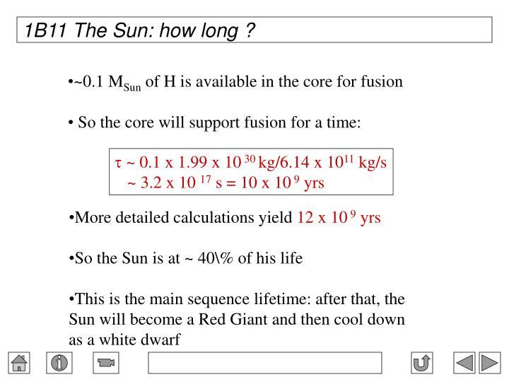 1B11 The Sun: how long ?