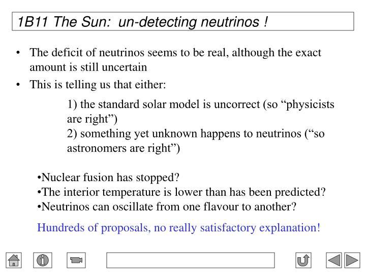 1B11 The Sun:  un-detecting neutrinos !