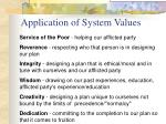 application of system values