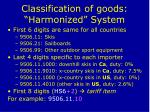 classification of goods harmonized system