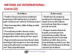 metode go international lisensi 2