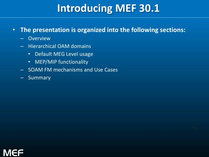 Introducing MEF 30.1
