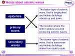 words about seismic waves