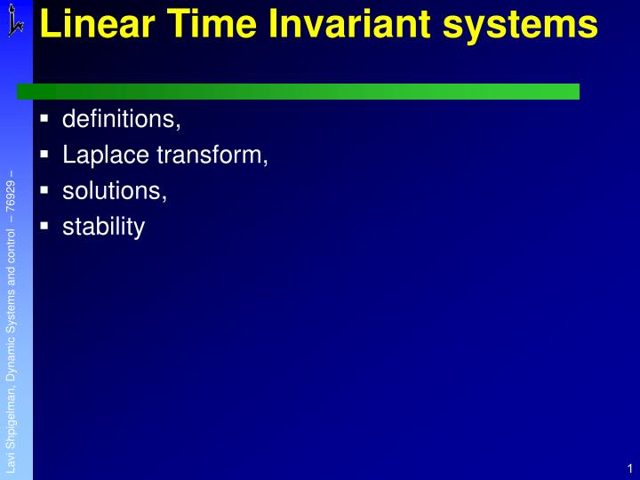 linear time invariant systems n.