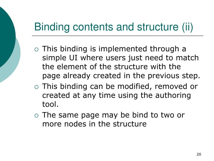 Binding contents and structure (ii)