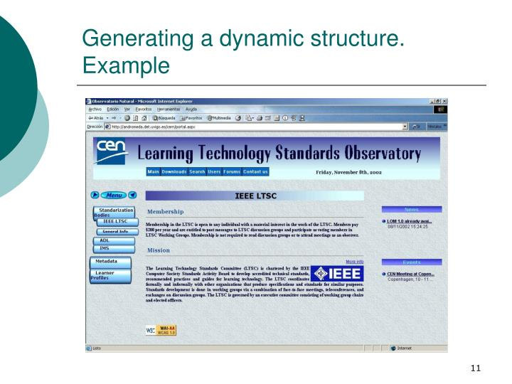 Generating a dynamic structure. Example