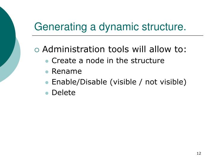 Generating a dynamic structure.