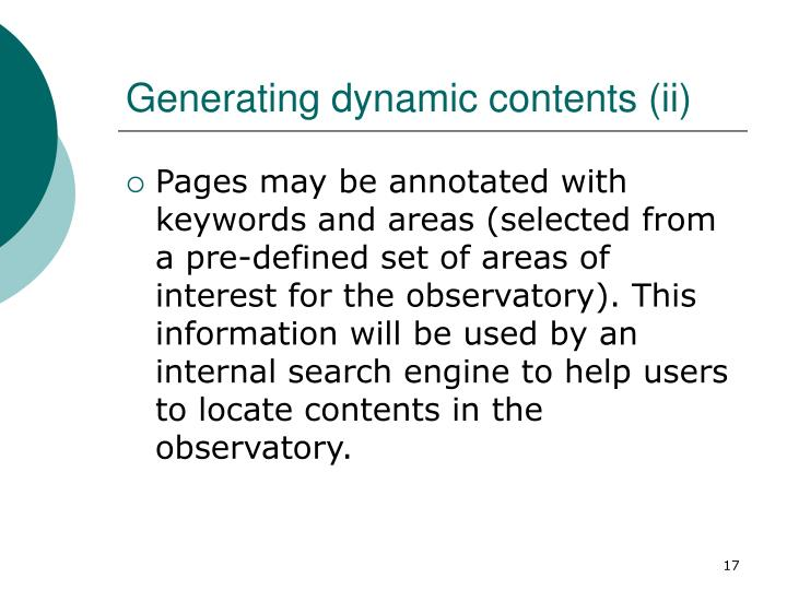 Generating dynamic contents (ii)
