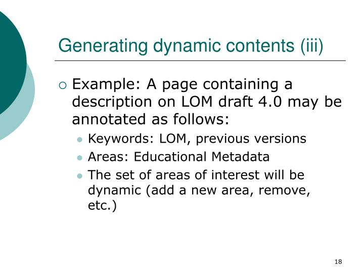 Generating dynamic contents (iii)