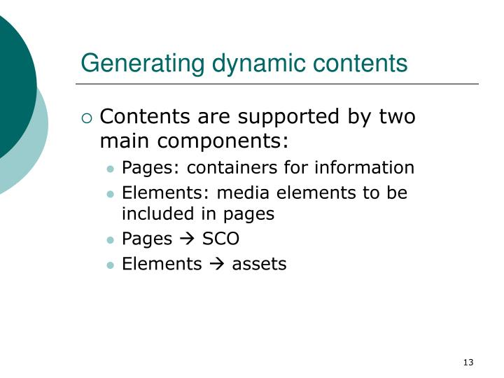 Generating dynamic contents