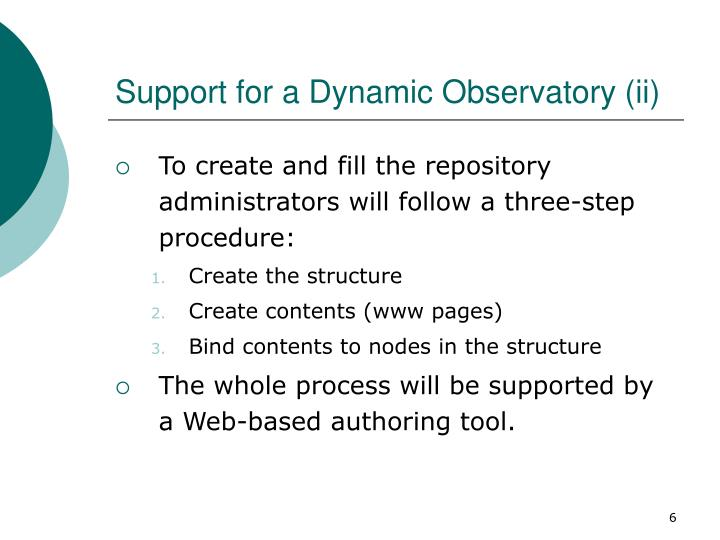 Support for a Dynamic Observatory (ii)