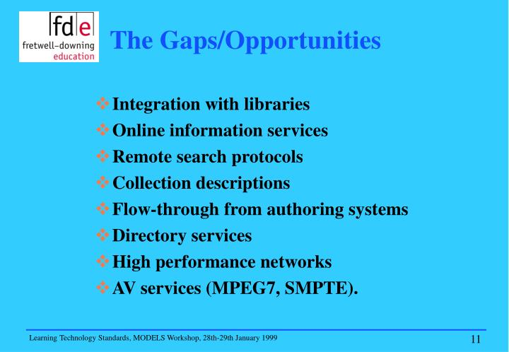 The Gaps/Opportunities