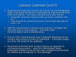 lesson learned con t
