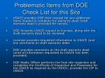 problematic items from doe check list for this site