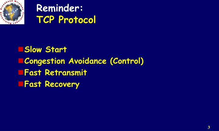 Reminder tcp protocol