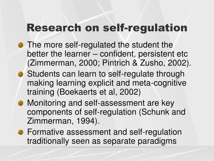 Research on self-regulation