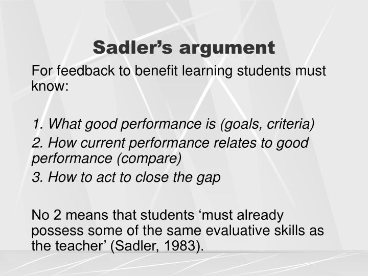 Sadler's argument