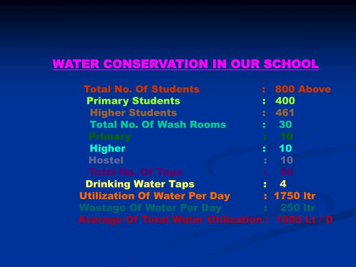 WATER CONSERVATION IN OUR SCHOOL