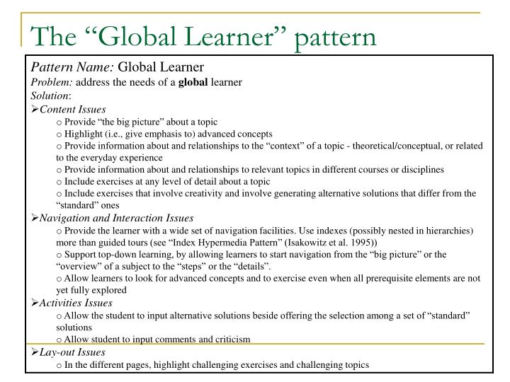 "The ""Global Learner"" pattern"