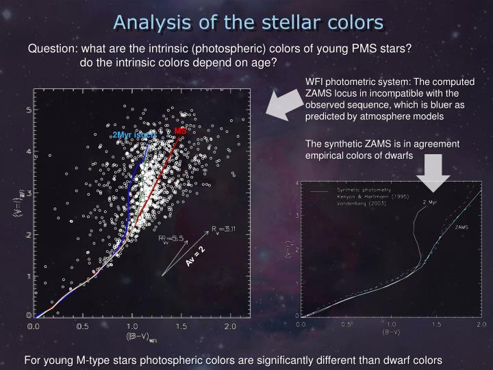 Analysis of the stellar colors