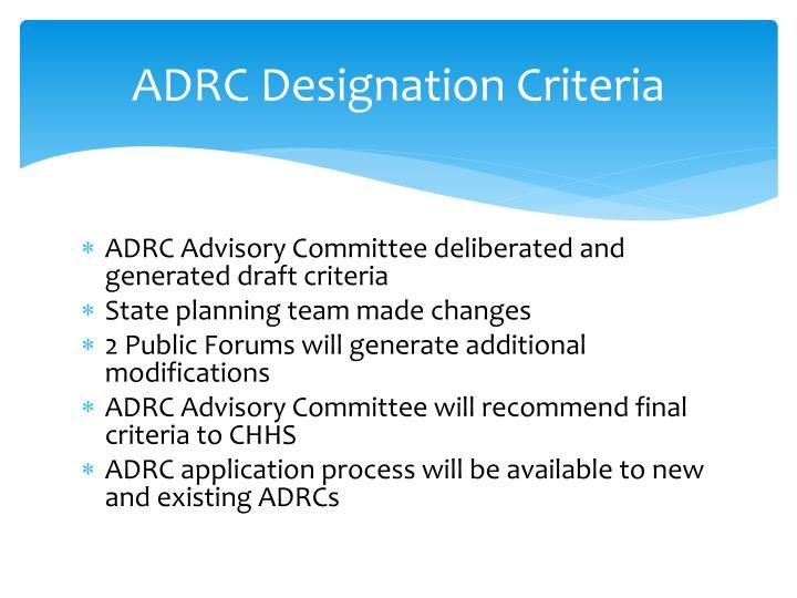 ADRC Designation Criteria