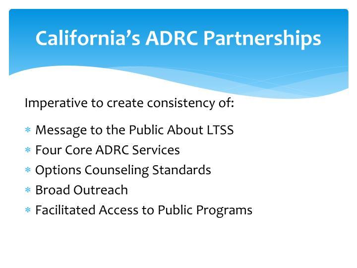 California's ADRC Partnerships