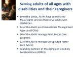 serving adults of all ages with disabilities and their caregivers