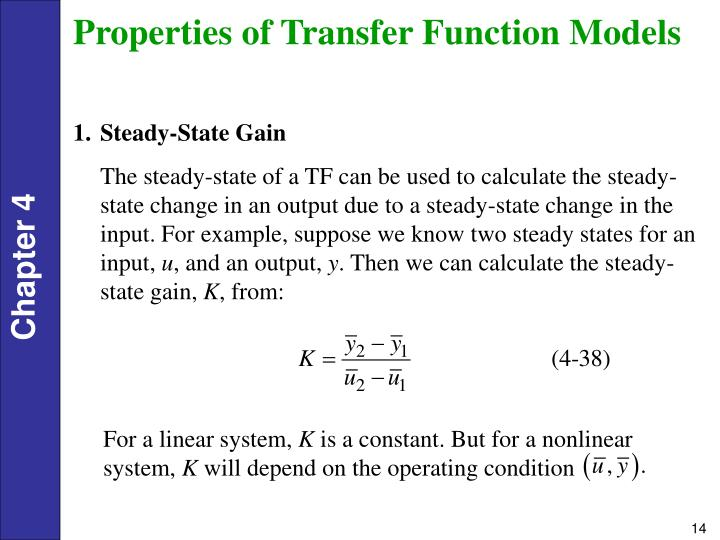 Properties of Transfer Function Models