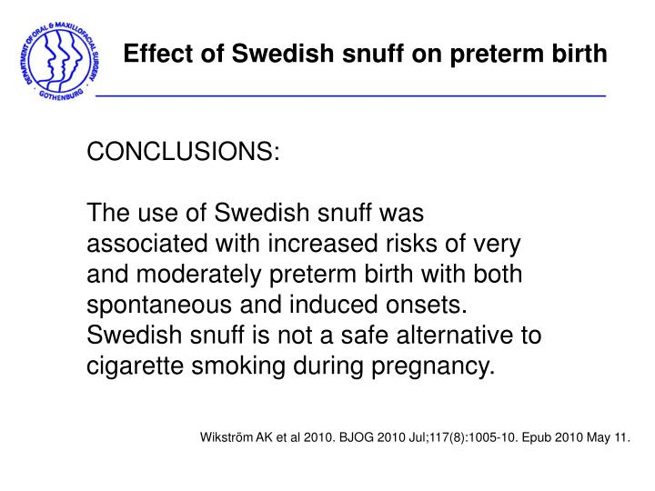 Effect of Swedish snuff on preterm birth
