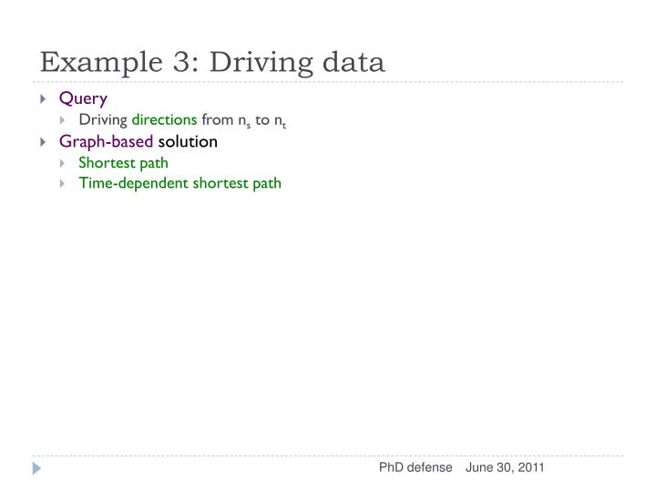 Example 3: Driving data