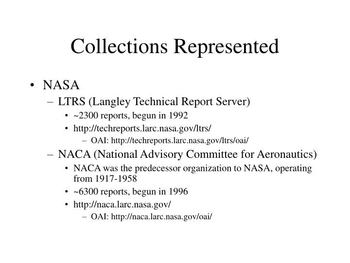 Collections represented