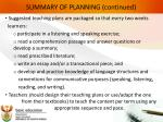 summary of planning continued1
