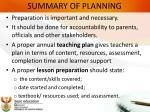 summary of planning
