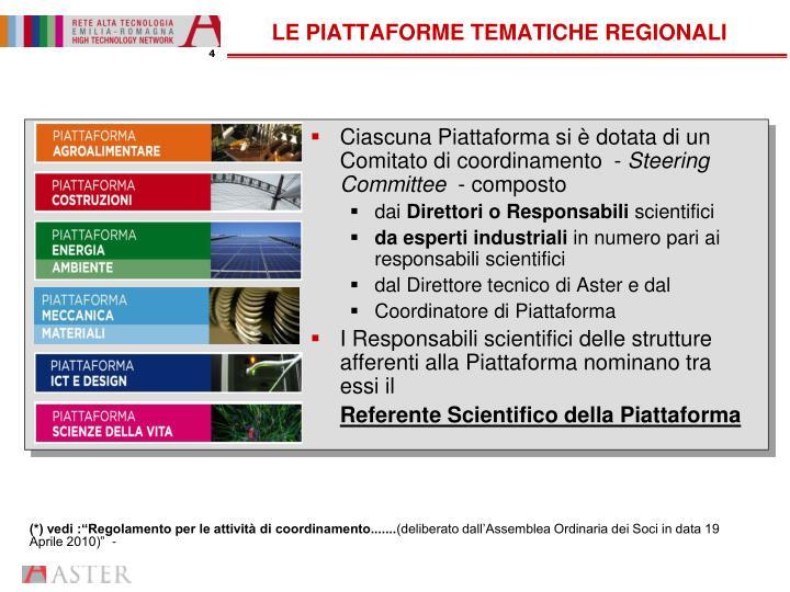 LE PIATTAFORME TEMATICHE REGIONALI