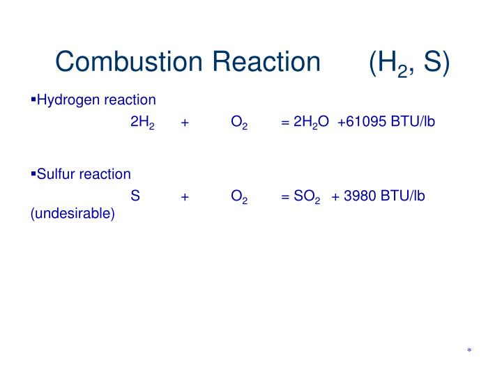 Combustion Reaction      (H
