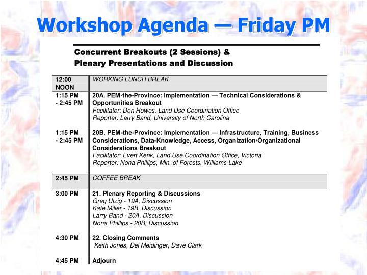 Workshop Agenda — Friday PM
