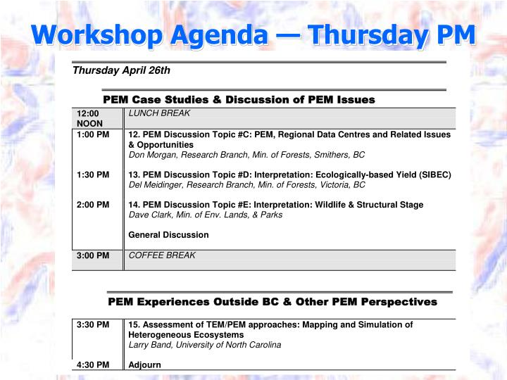 Workshop Agenda — Thursday PM