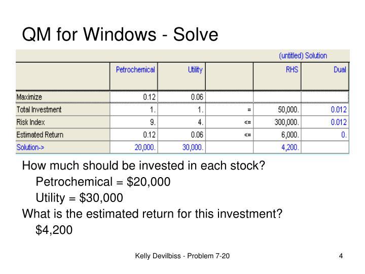 QM for Windows - Solve