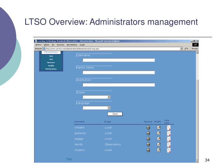 LTSO Overview: Administrators management