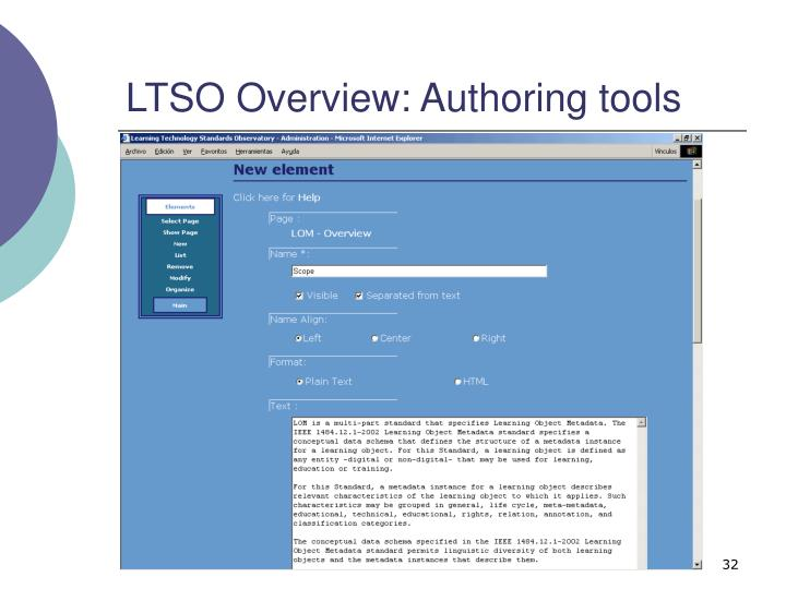 LTSO Overview: Authoring tools