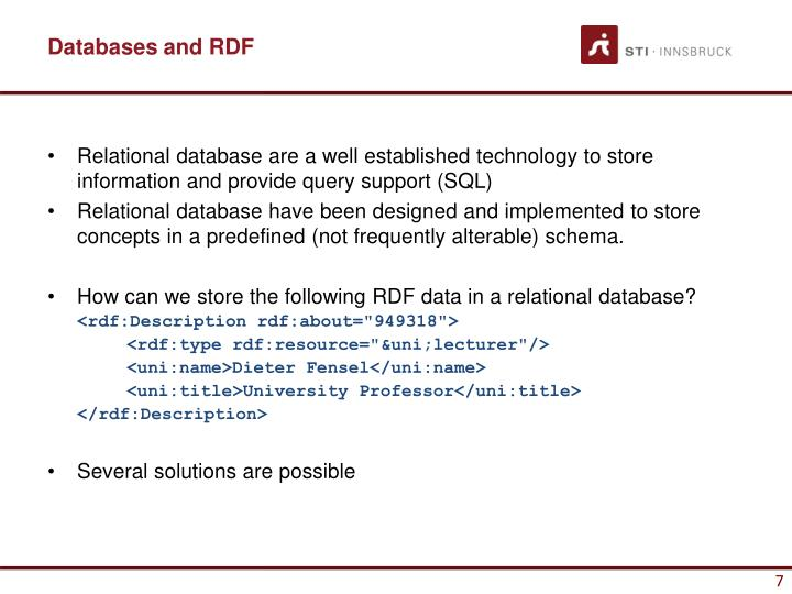 Databases and RDF